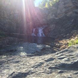 Falls with glaring sun