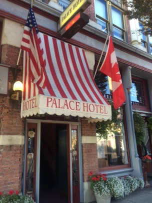 Outside Palace Hotel with Canada flag