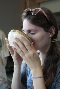 Alyssa enjoying green tea
